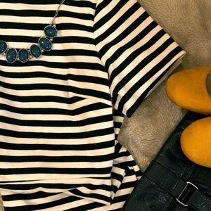 Old Navy black and white stripe ponte dress